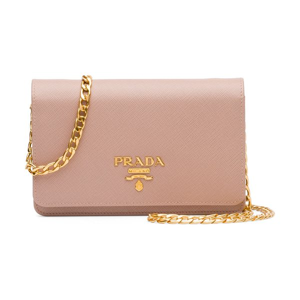 PRADA Saffiano Lux Crossbody Bag - Prada saffiano leather crossbody bag. Golden hardware....