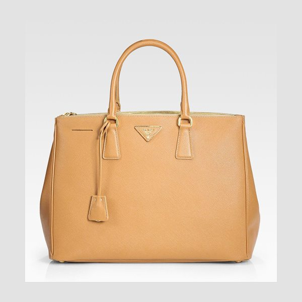 Prada saffiano lux large double-zip tote in caramello-caramel - Rich calfskin leather finished with signature etching,...