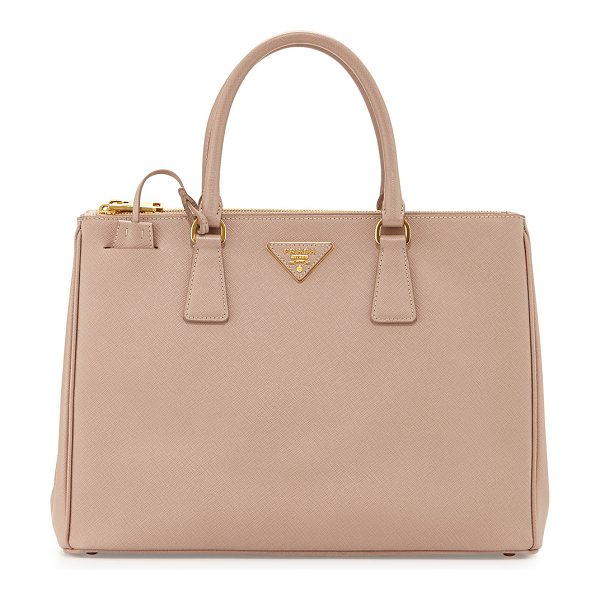 Prada Saffiano lux double-zip tote bag in blush - Prada lux tote bag in signature saffiano calf leather....