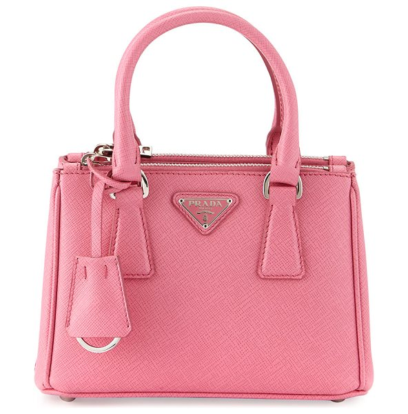 PRADA Saffiano Lux Micro Tote Bag w/Shoulder Strap in pink - Prada saffiano leather tote bag with steel hardware....