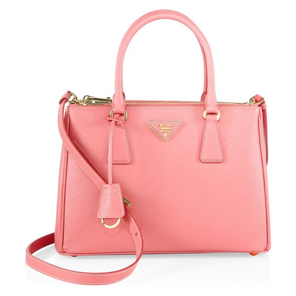 PRADA saffiano lux small double-zip satchel in petalo - Signature satchel design cast in rich Saffiano leather....