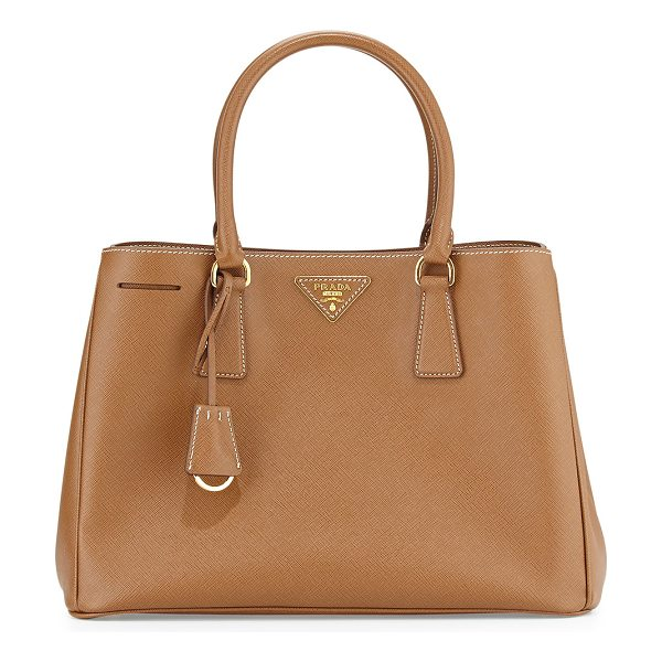 PRADA Saffiano Small Gardener's Tote Bag in camel - Prada saffiano leather tote bag with golden hardware....