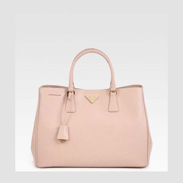 Prada Saffiano lux tote in cammeo-blush - This classic shape in soft, stamped leather has radiant...