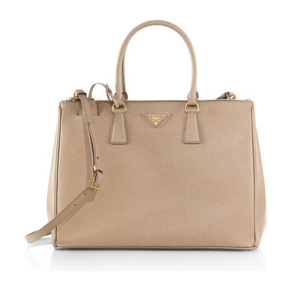 Prada large double-zip saffiano leather tote in sabbia-beige