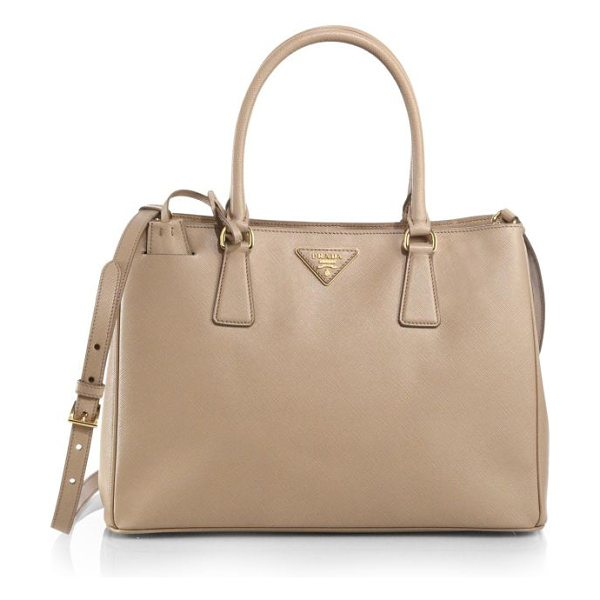 Prada saffiano medium double zip top-handle bag in sabbia-nude - A roomy design in luxurious Saffiano leather with a...