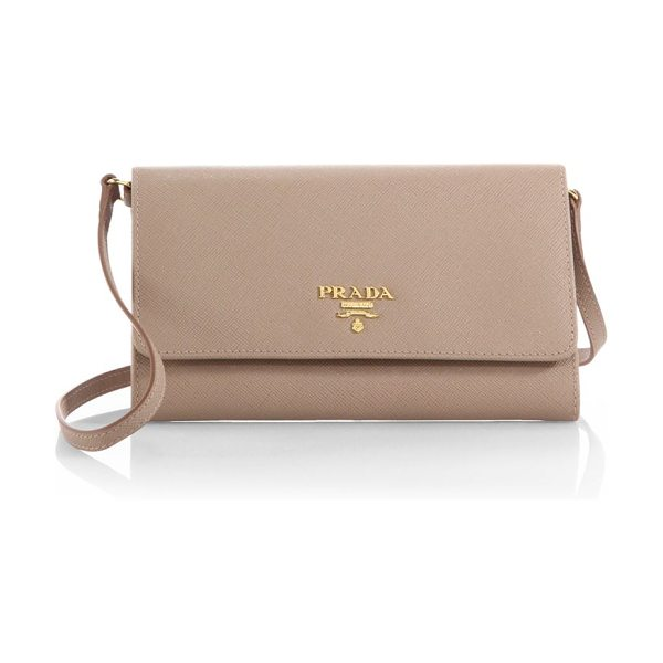 Prada Saffiano mini crossbody bag in cammeo-nude - A wallet-like, multicompartment design with the...