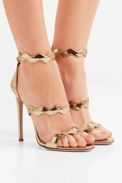 38948f6dd68 Prada 115 Scalloped Metallic Leather Sandals