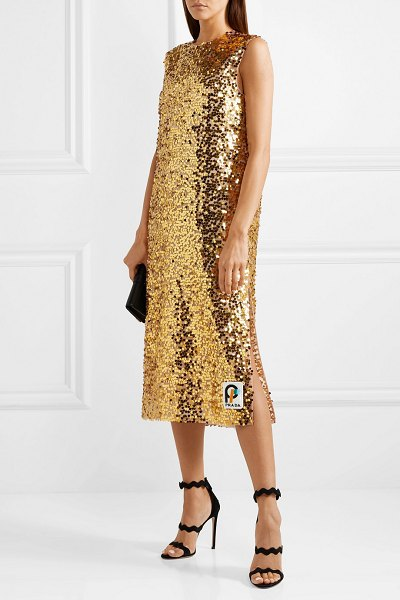 Prada sequined organza midi dress in gold