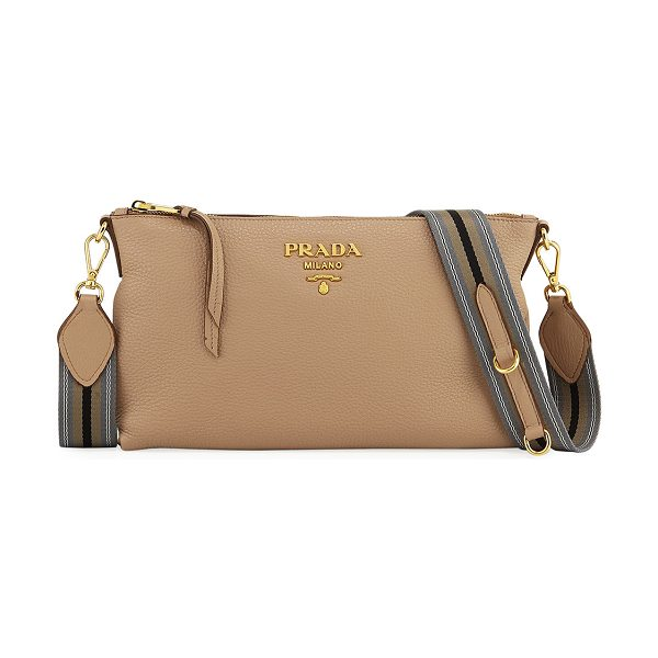 PRADA Small Daino Crossbody Bag in blush - Prada pebbled leather crossbody bag. Flat top handle....