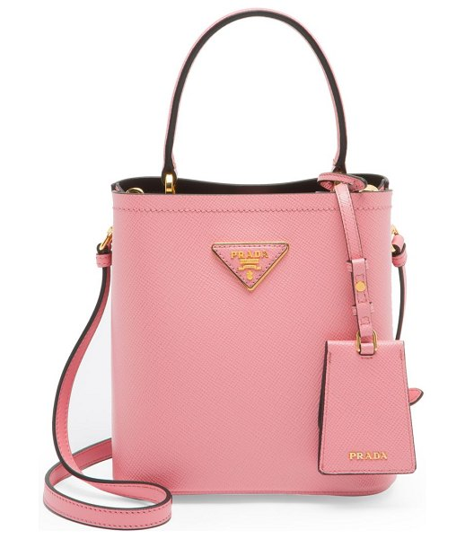 Prada small double bucket bag in pink