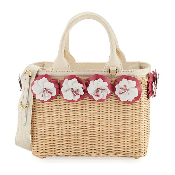 Prada Small Flowers Raffia Basket Bag in white/pink - Prada raffia wicker basket bag with bicolor flower...