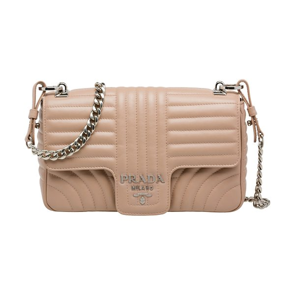 Prada Medium Diagramme Shoulder Bag in nude - Prada quilted calf leather shoulder bag. Sliding chain...