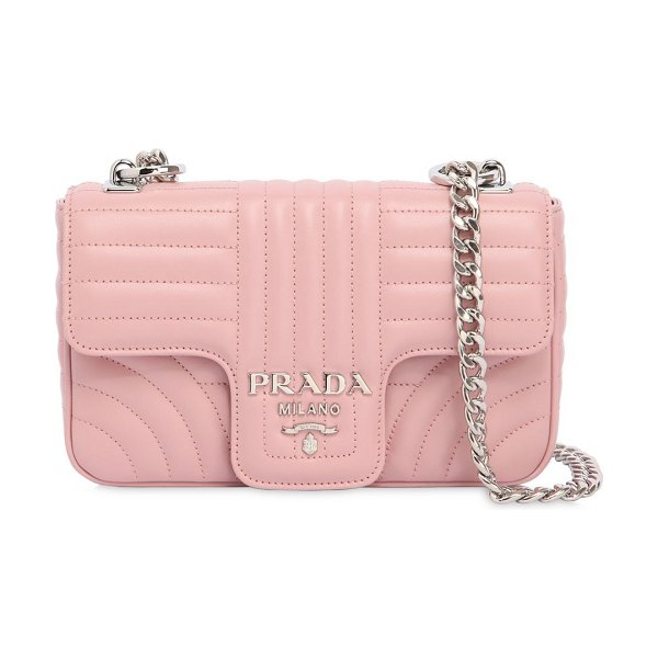 PRADA Small quilted soft leather flap bag in light pink - Height: 12.5cm   Width: 21cm   Depth: 5cm . Metal chain...
