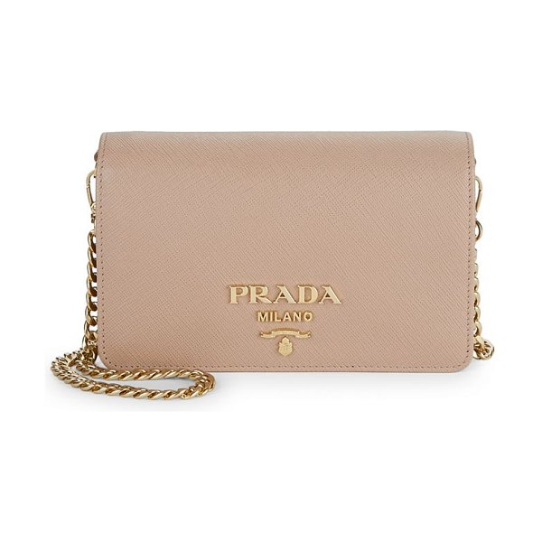 Prada small saffiano leather crossbody bag in cipria