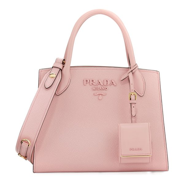 Prada Small Saffiano Monocrome Tote in peach - Prada saffiano leather tote bag with golden hardware....