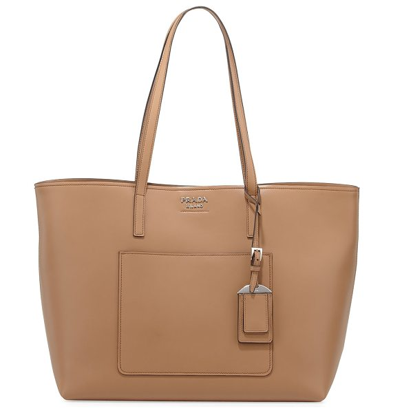 PRADA Soft Leather Shopper Tote Bag in tan/camel - Prada soft calf leather shopper tote bag. Flat tote...