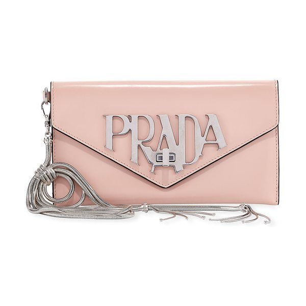 Prada Spazzolato Logo Envelope Clutch Bag in peach - Prada spazzolato calf leather clutch bag with silvertone...
