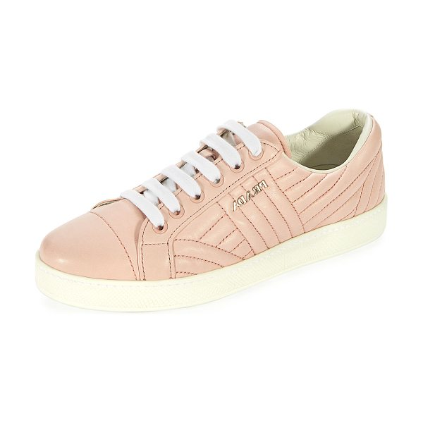 "Prada Stitched Leather Low-Top Sneakers in rosa - Prada quilted leather sneaker with tonal stitching. 0.2""..."