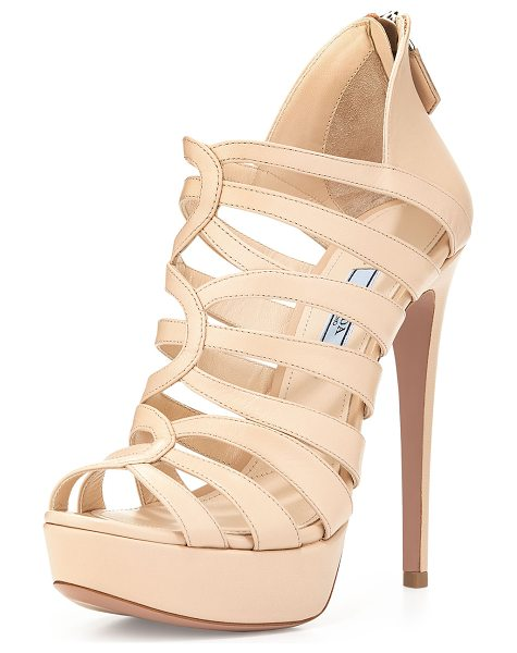"PRADA Strappy cage high-heel sandal - Prada smooth leather strappy sandal. 5. 3"" covered..."