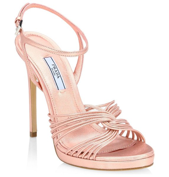 bf9805259b8 Prada strappy metallic leather platform sandals in rose - These strappy  platform stiletto sandals are finished