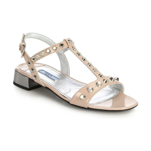 Prada Studded patent leather sandals in blush - Studs contrast with a playful pastel hue on these sleek...