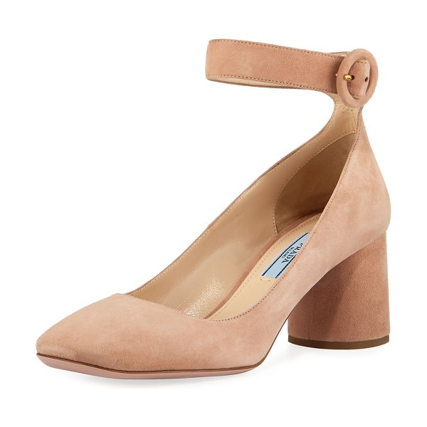 "Prada Suede Block-Heel Ankle-Wrap Pump in nude - EXCLUSIVELY AT NEIMAN MARCUS Prada suede pump. 2.5""..."