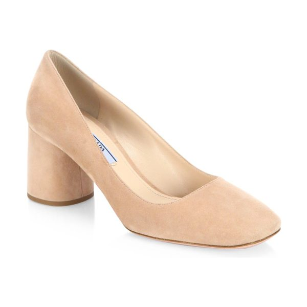 Prada suede block heel pumps in nude - Sumptuous suede square-toe pump on round block heel....
