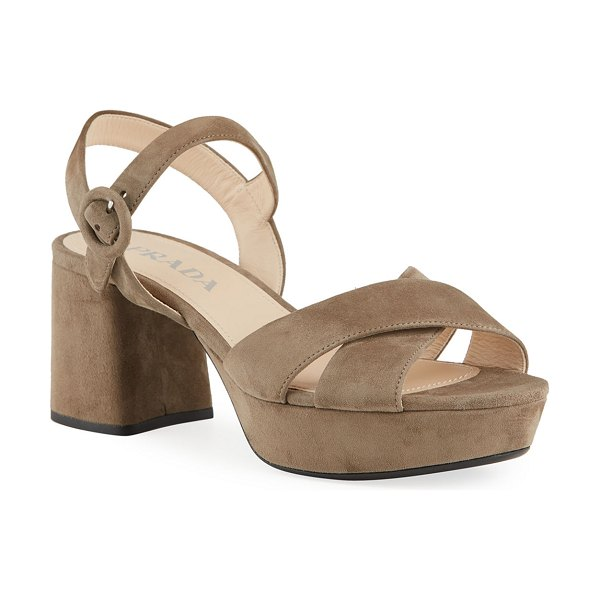 Prada Suede Crisscross Ankle-Wrap 65mm Sandals in taupe