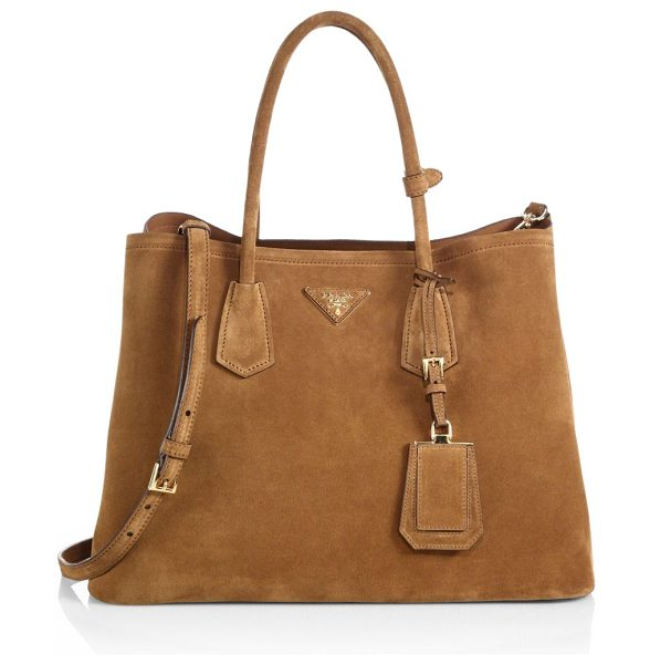 Prada Suede double bag in caramello-caramel - Impeccably designed in soft suede with a two-compartment...