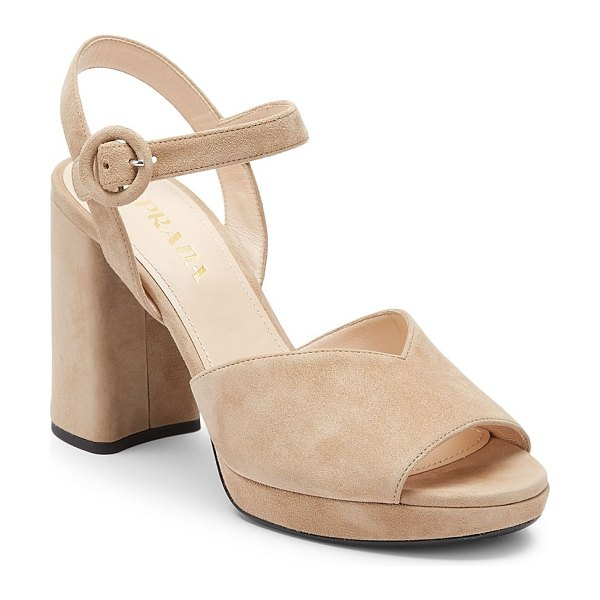Prada peep-toe suede platform sandals in tan