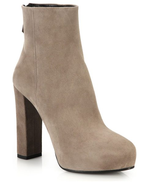 Prada Suede platform booties in beige - Block-heeled boots of soft Italian suedeSelf-covered...