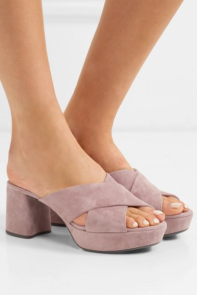 Prada suede platform mules in antique rose - Prada's mules have been made in Italy from panels of...