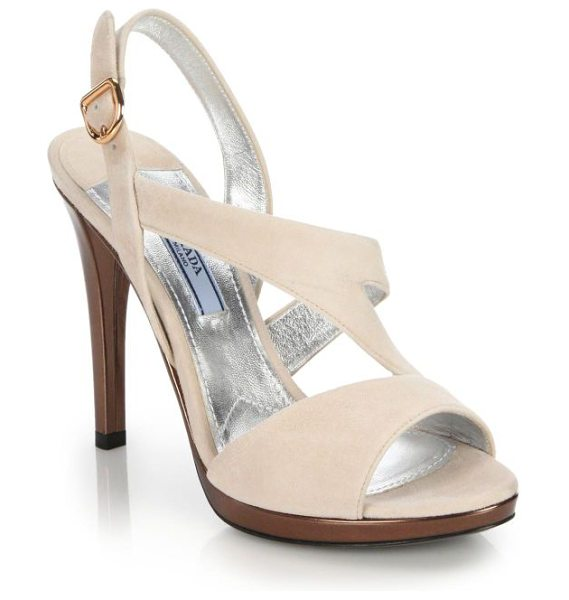 Prada Suede platform sandals in blush-copper - Luxe metallic leather accents - set across heel,...