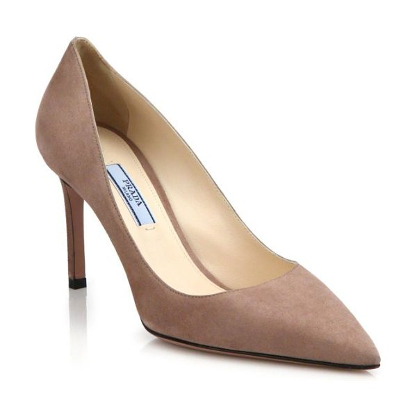 PRADA Suede point-toe pumps - The classic point-toe pump, impeccably crafted of supple...