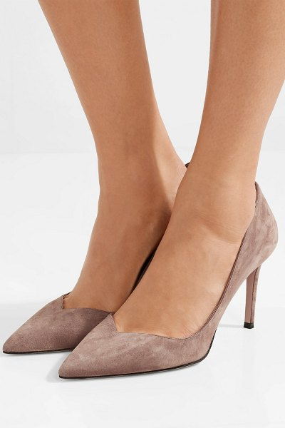 Prada suede pumps in beige - Prada's pumps have a low V-shaped vamp that's so...