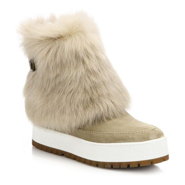 Prada Suede & sheepskin fur boots in tan - A luxe fur cuff adds plush warmth to this city-cool...