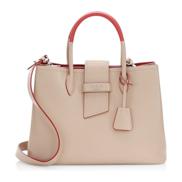 Prada top handle tote in cipria - Leather shoulder bag with contrast detailing. Top...