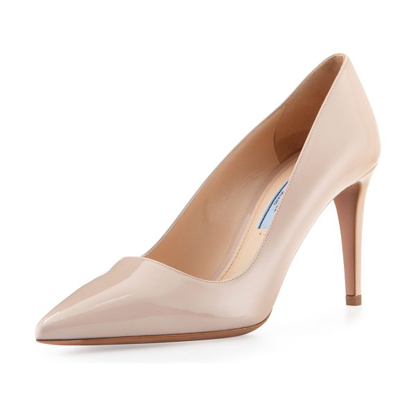 PRADA Vernice mid-heel pointy pump - Vernice leather with tonal topstitching. Pointed toe;...