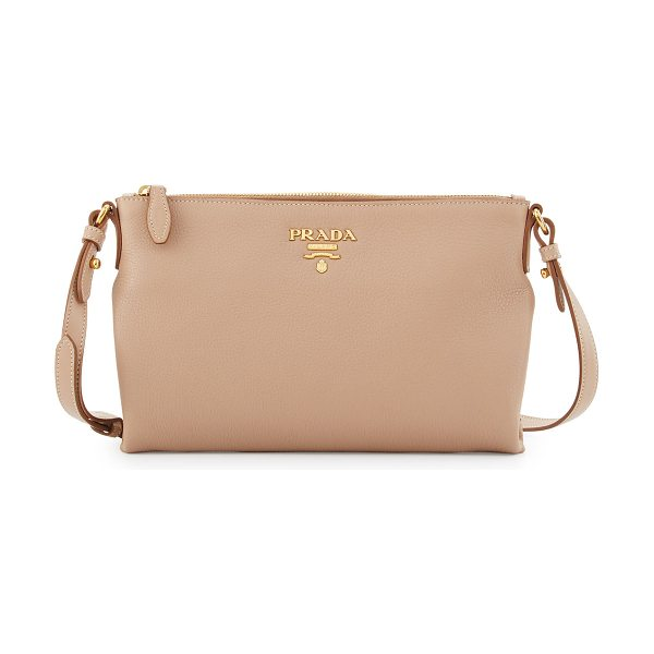 Prada Vitello Daino Medium Pouch Crossbody Bag in nude - Prada pebbled calf leather crossbody bag. Available in...
