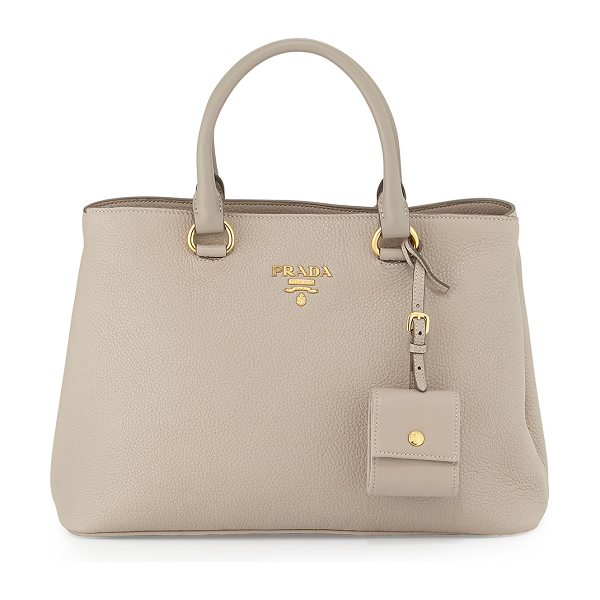PRADA Vitello Daino Tote Bag in light grey - Prada pebbled calf leather tote bag with golden...