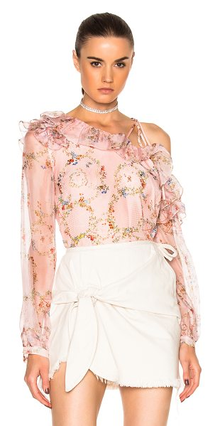 Preen By Thornton Bregazzi Daralis Top in flower ring pink - 100% silk. Made in Romania. Dry clean only. Shoulder cut...