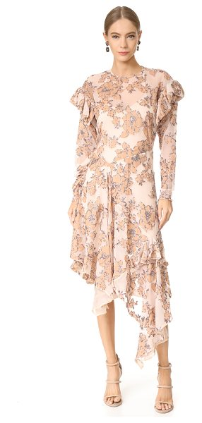 Preen By Thornton Bregazzi dyani dress in nude - Flecks of rainbow glitter surround the velvet flowers on...