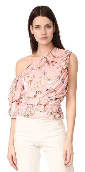 PREEN BY THORNTON BREGAZZI one shoulder scarlet top - Flocked velvet accents give this floral Preen By...