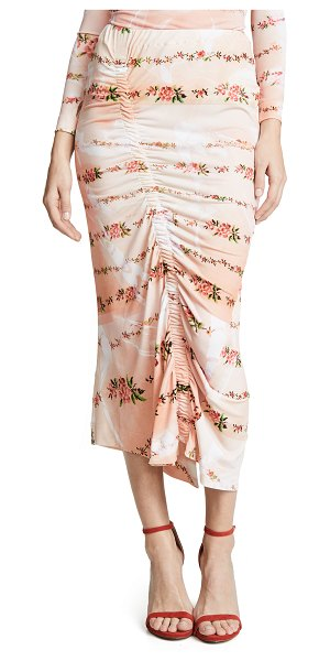 Preen By Thornton Bregazzi tracy skirt in peach petal - Fabric: Fine knit Ruching at front Slit at back Floral...