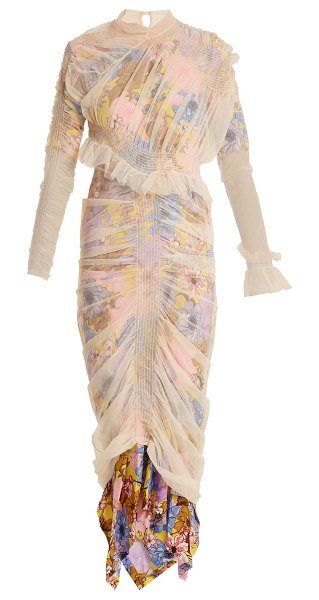 Preen By Thornton Bregazzi Viola Layered Floral Print Tulle And Silk Dress in beige multi - Preen By Thornton Bregazzi - This honey-nude stretch...