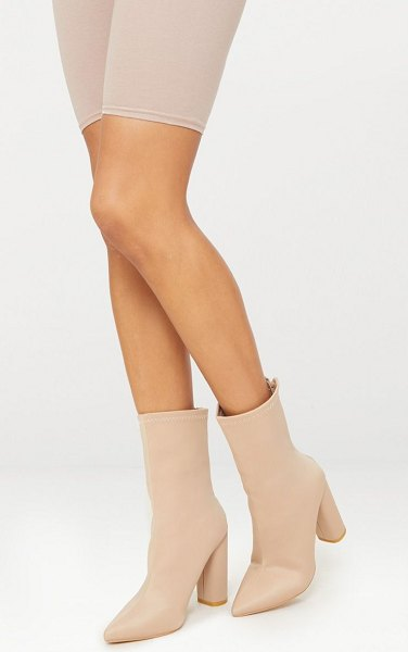 PrettyLittleThing addie neoprene pointed sock boots in nude
