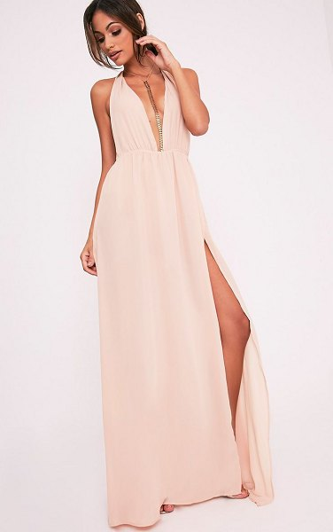 PrettyLittleThing alina plunge maxi dress in nude