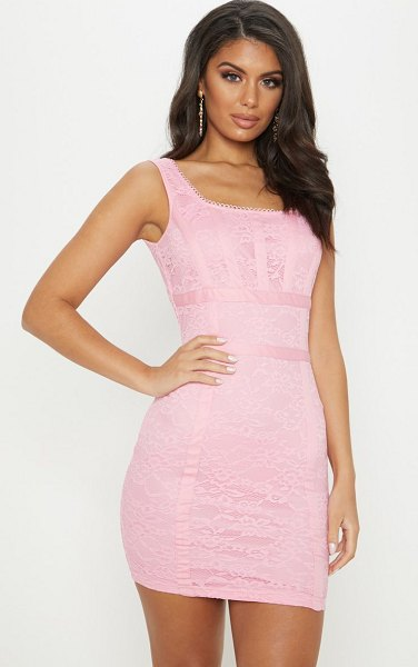 PrettyLittleThing baby pink lace square neck panelled bodycon dress in baby pink