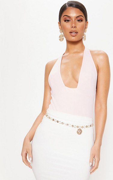 PrettyLittleThing baby pink plunge sleeveless bodysuit in baby pink