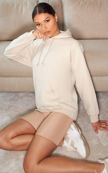 PrettyLittleThing back print hoodie in sand